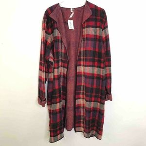 NY Collection Red Black Plaid Open Front Cardigan